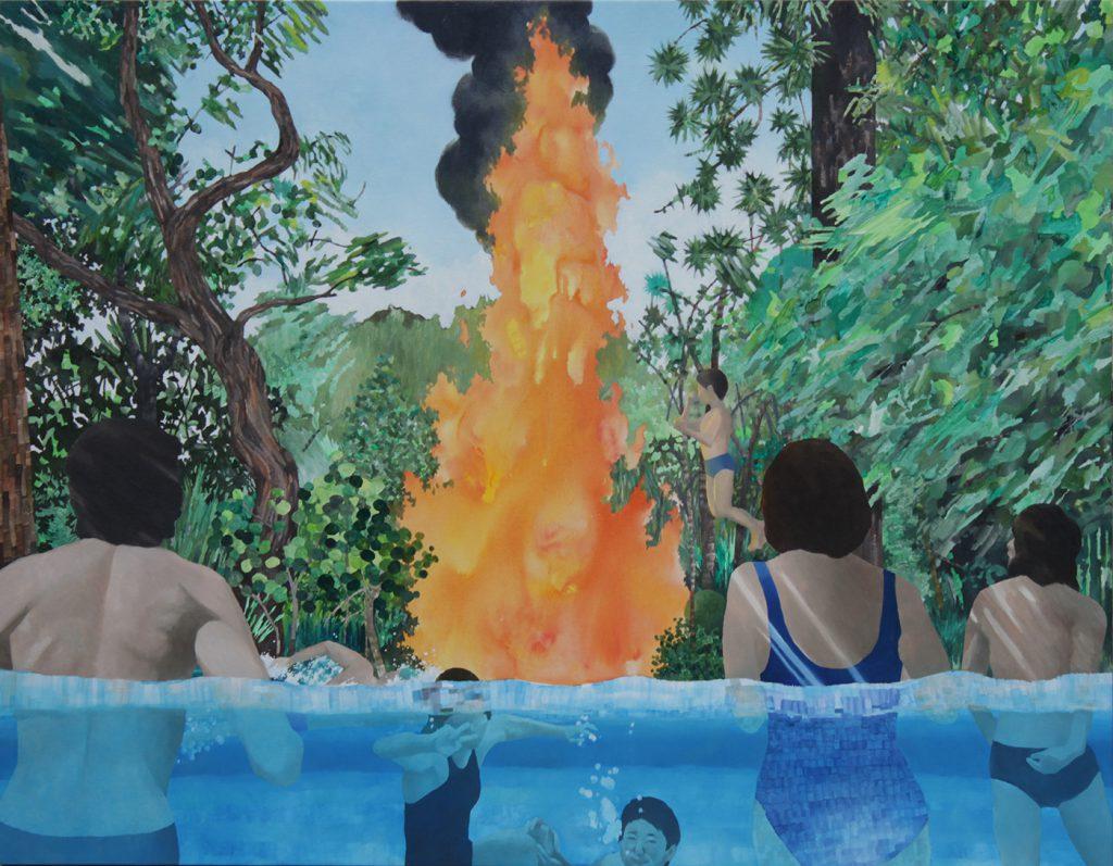 新作《真昼の不知火》 キャンバスにアクリル•油彩, 116.7×91cm